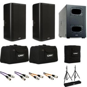 QSC K12 2 Powered Speaker pair with KS Cardioid Sub, Stands, Covers and  Cables