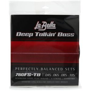 La Bella 760FS-TB Deep Talkin/' Bass THRU-BODY Flatwound Bass Guitar Strings