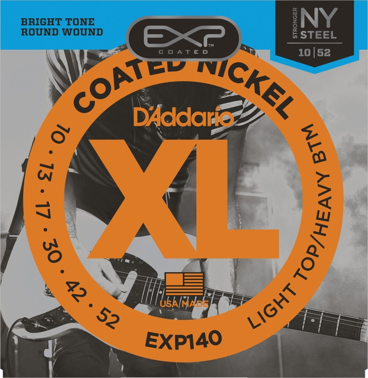 D\'Addario EXP140 Coated Nickel Plated Steel Light Top/Heavy Bottom Electric Strings image 1