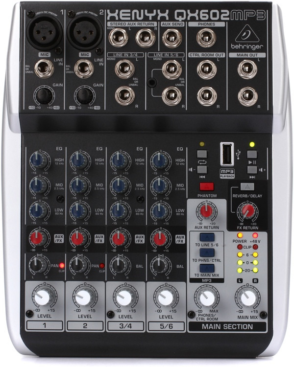 Behringer Xenyx QX602MP3 Mixer with USB MP3 Playback image 1