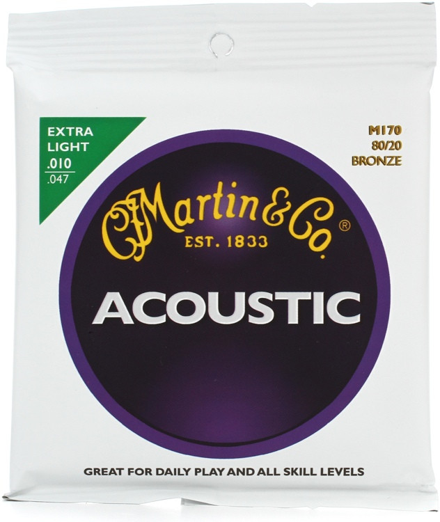 Martin M-170 80/20 Bronze Extra Light Acoustic Strings image 1
