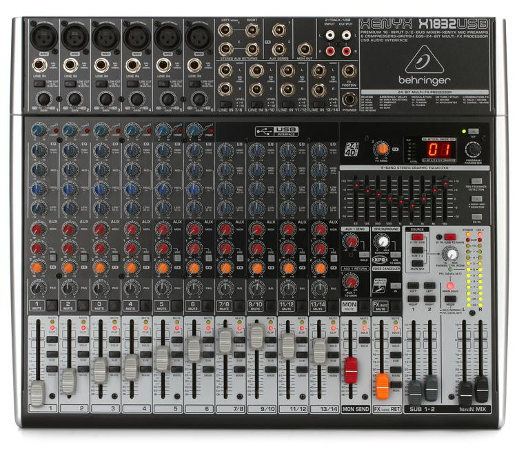 Behringer Xenyx X1832USB Mixer and USB Audio Interface with Effects image 1