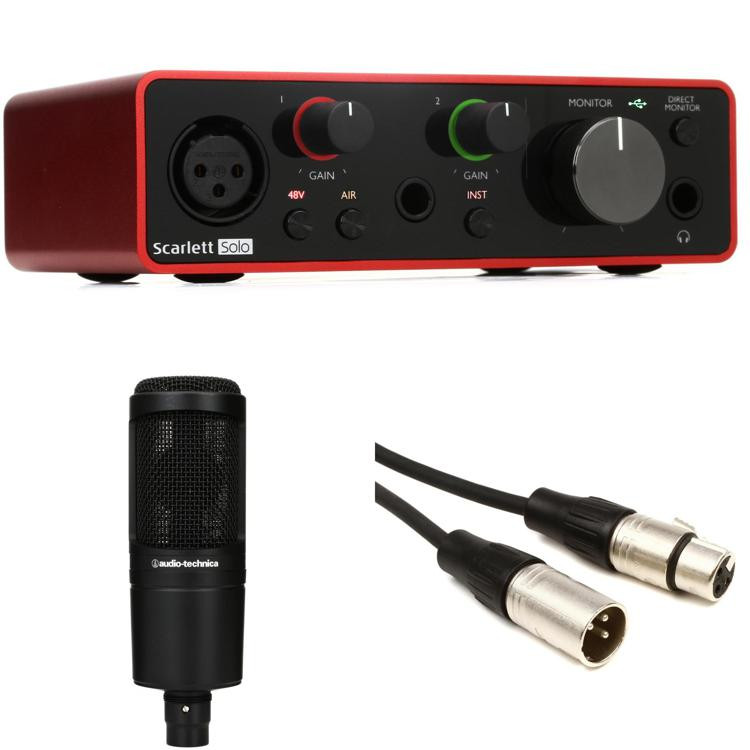 focusrite scarlett solo audio interface at2020 recording package sweetwater. Black Bedroom Furniture Sets. Home Design Ideas