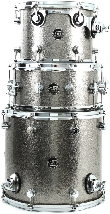 DW Performance Series 3-Piece Tom/Snare Pack - Titanium Sparkle Finish Ply image 1
