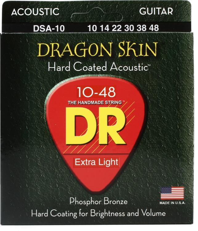 DR Strings DSA-10 Dragon-Skin Phosphor Bronze Lite Coated Acoustic Strings image 1