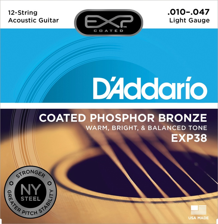 D\'Addario EXP38 Coated Phosphor Bronze Light 12-String Acoustic Strings image 1