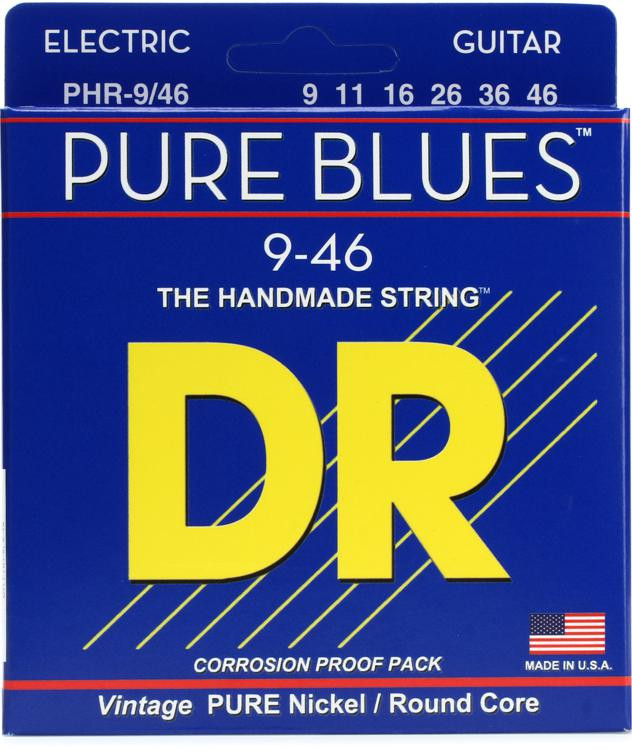 DR Strings PHR-9/46 Pure Blues Pure Nickel Lite & Heavy Electic Guitar Strings image 1