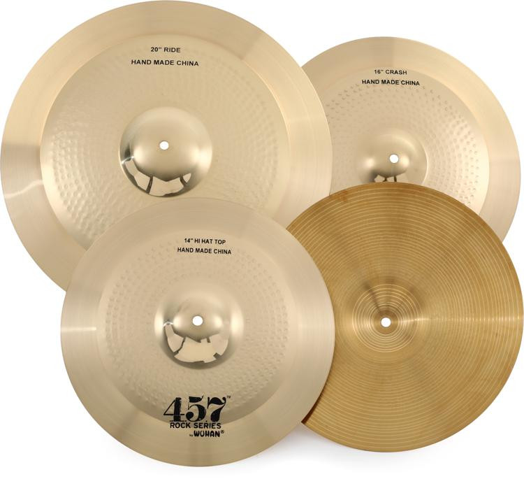 wuhan 457 rock 3 piece cymbal pack with free 10 splash sweetwater. Black Bedroom Furniture Sets. Home Design Ideas