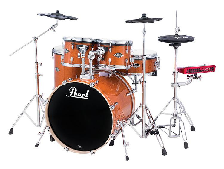 Pearl E-Pro Powered by Export Lacquer 5-pc Electronic Drum Set, Fusion - Honey Amber image 1