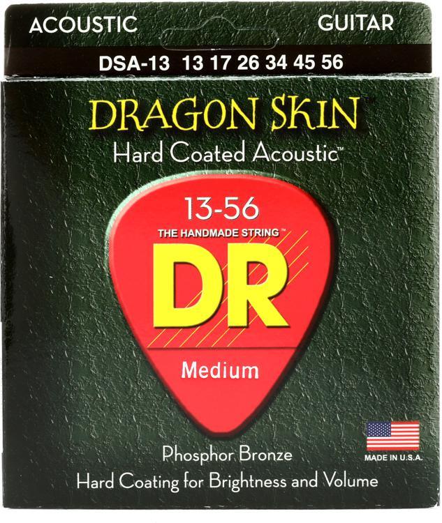 DR Strings DSA-13 Dragon-Skin Phosphor Bronze Medium Heavy Coated Acoustic Strings image 1