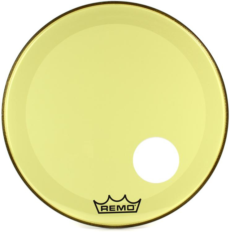 remo powerstroke 3 colortone bass drumhead with port hole 24 yellow sweetwater. Black Bedroom Furniture Sets. Home Design Ideas