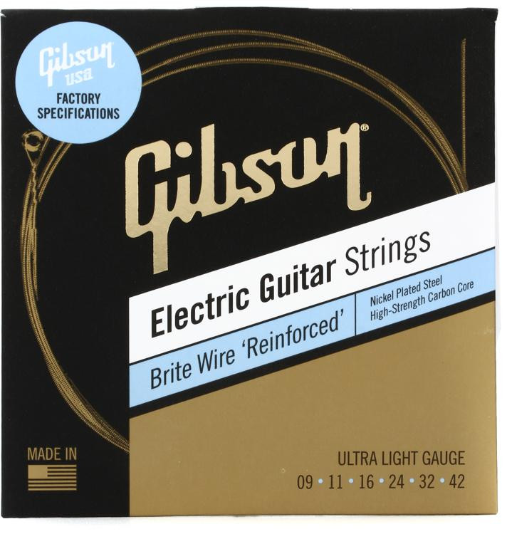 gibson accessories brite wire 39 reinforced 39 electric guitar strings 009 042 ultra light. Black Bedroom Furniture Sets. Home Design Ideas