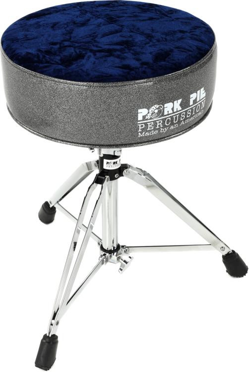 pork pie percussion round drum throne charcoal sparkle and royal blue crush sweetwater. Black Bedroom Furniture Sets. Home Design Ideas