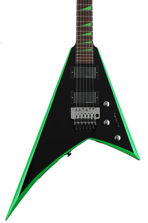 Jackson RR24 X Series Rhoads - Black with Neon Green Bevels image 1