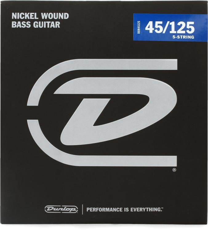 Dunlop DBN45125 Nickel Plated Steel Medium 5-String Bass Strings image 1