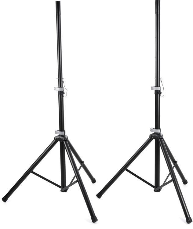 K&M 21459 Aluminum Speaker Stands w/Bag - Black image 1