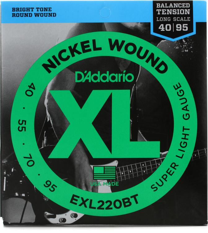 D\'Addario EXL220BT Balanced Tension Nickel Wound Extra Light Bass Strings image 1