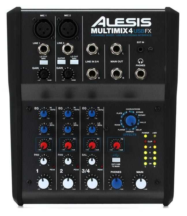 alesis multimix 4 usb fx mixer with usb effects sweetwater. Black Bedroom Furniture Sets. Home Design Ideas