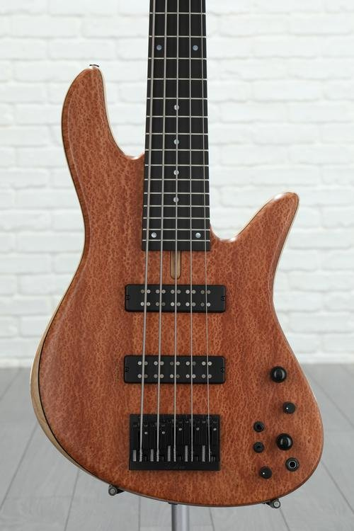 Fodera Emperor Standard Special, Redwood Pinburl Top - Natural, Black Hardware, MOP dot inlay