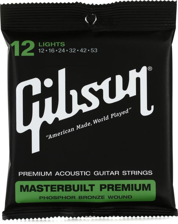 Gibson Accessories SAG-MB12 Masterbuilt Premium Phosphor Bronze Light Acoustic Guitar Strings image 1