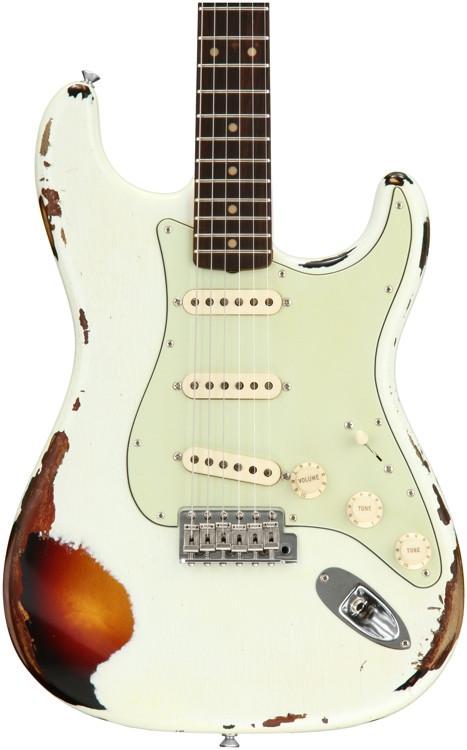 Fender Custom Shop \'59 Stratocaster Heavy Relic/Closet Classic Mix - Olympic White Over 3-tone Sunburst image 1
