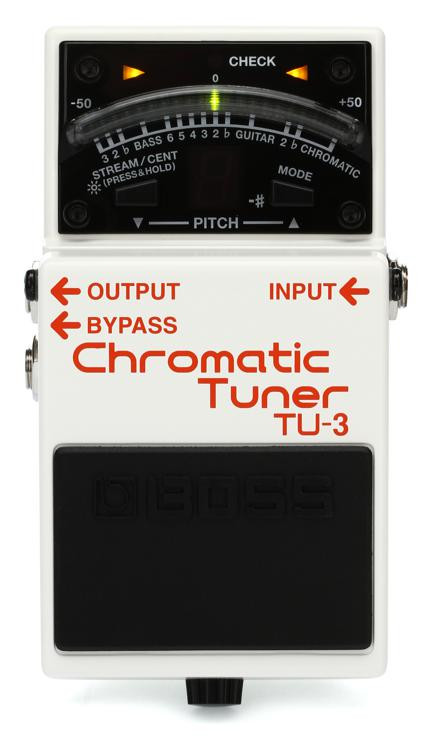 boss tu 3 chromatic tuner pedal with bypass sweetwater. Black Bedroom Furniture Sets. Home Design Ideas