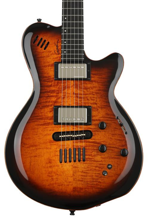godin lgx sa cognac burst flame aa sweetwater. Black Bedroom Furniture Sets. Home Design Ideas