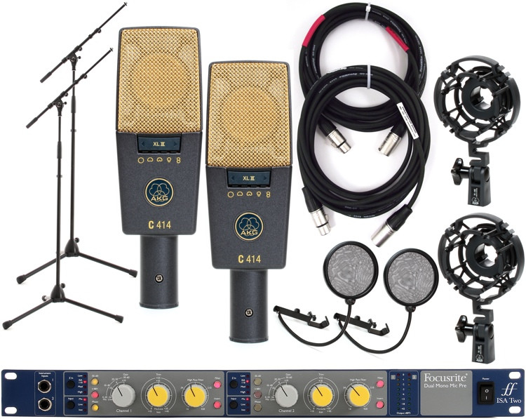 AKG C414XLII Pair with Focusrite IsaTwo Mic Pre image 1