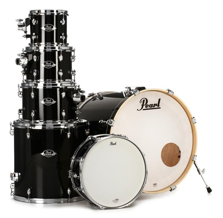 pearl export exl 6 piece drum set with hardware black smoke sweetwater. Black Bedroom Furniture Sets. Home Design Ideas