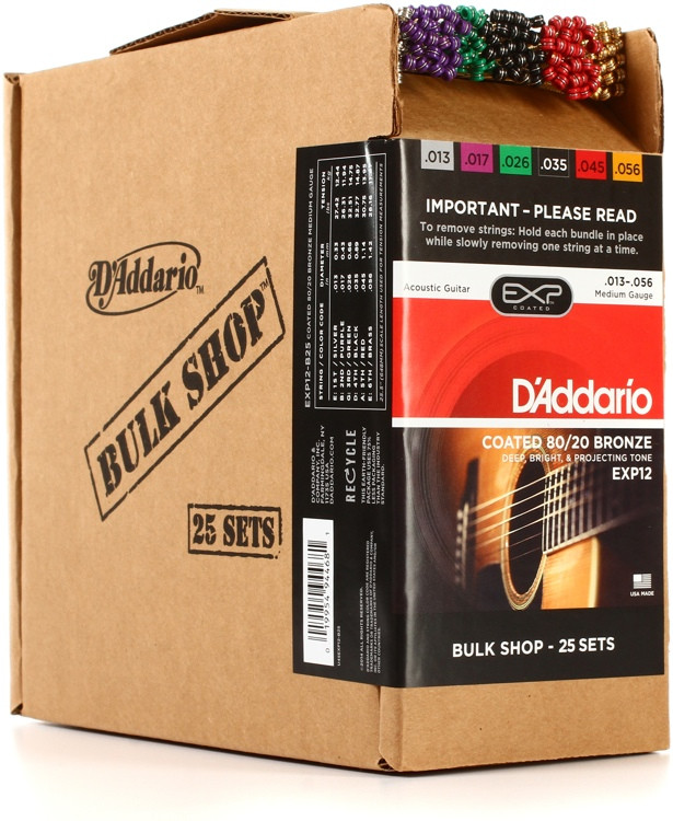 D\'Addario EXP12 Coated 80/20 Bronze Medium Acoustic Strings 25-pack image 1