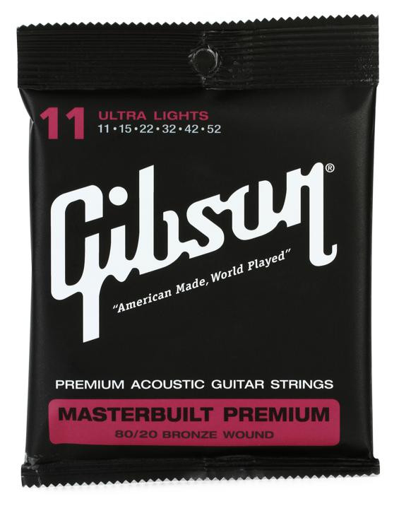 Gibson Accessories SAG-BRS11 Masterbuilt Premium 80/20 Bronze Ultra Light Acoustic Guitar Strings image 1