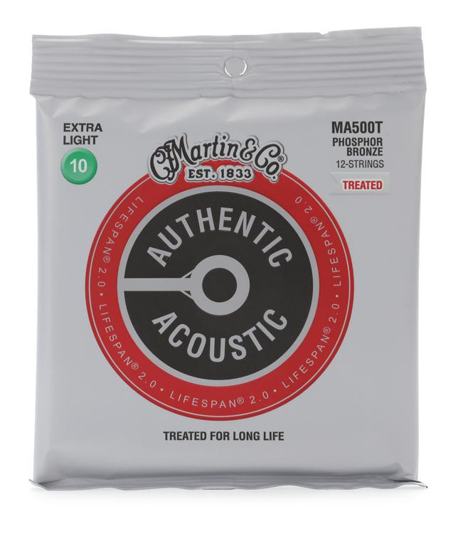 martin authentic acoustic lifespan 2 0 treated guitar strings 92 8 phosphor bronze 12 string. Black Bedroom Furniture Sets. Home Design Ideas