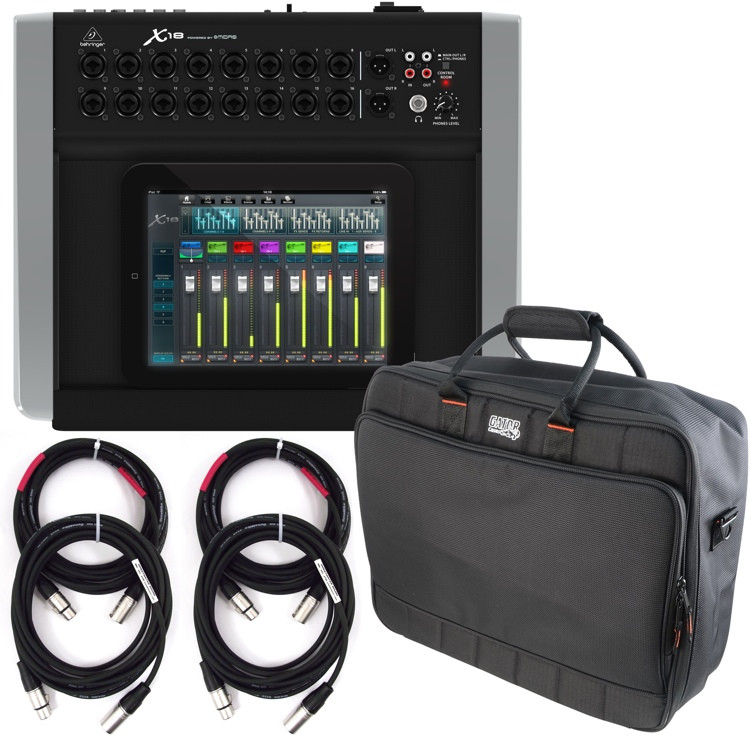 behringer x air x18 digital mixer with case and cables sweetwater. Black Bedroom Furniture Sets. Home Design Ideas