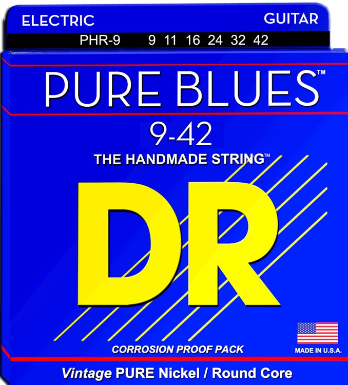 DR Strings PHR-9 Pure Blues Pure Nickel Lite Electric Guitar Strings image 1