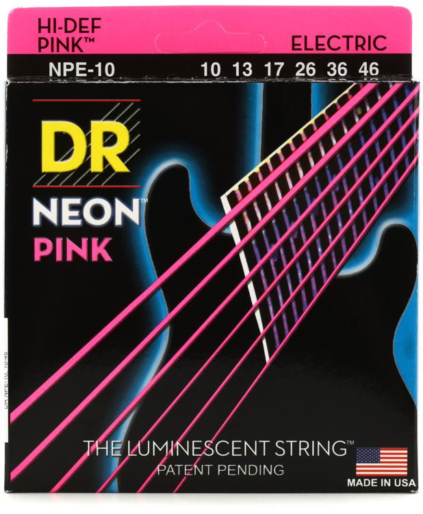 DR Strings NPE-10 Neon Hi-Def Pink K3 Coated Medium Electric Guitar Strings image 1