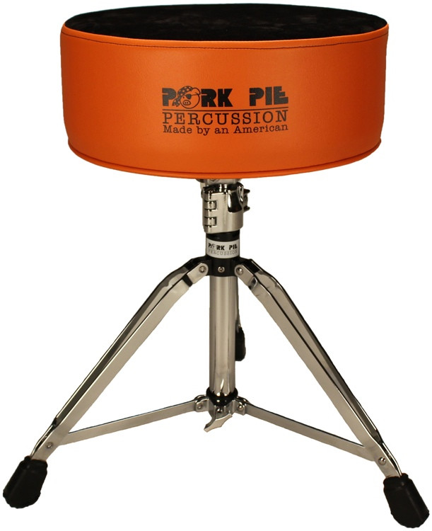 pork pie percussion round drum throne orange with black crushed velvet top sweetwater. Black Bedroom Furniture Sets. Home Design Ideas