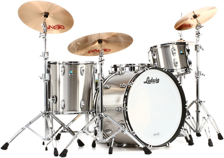 Ludwig Pro Beat 24 Stainless Steel 3-piece Shell Pack - Brushed Finish image 1