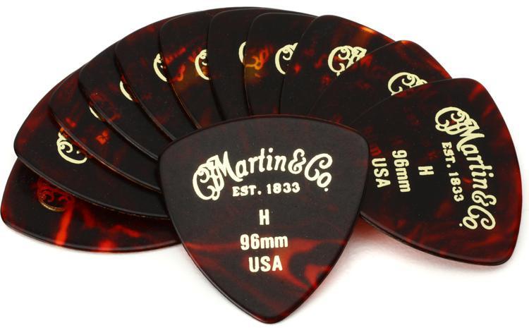 Martin Faux Tortoise 346 #2 Guitar Picks 12-Pack - .96mm Heavy image 1