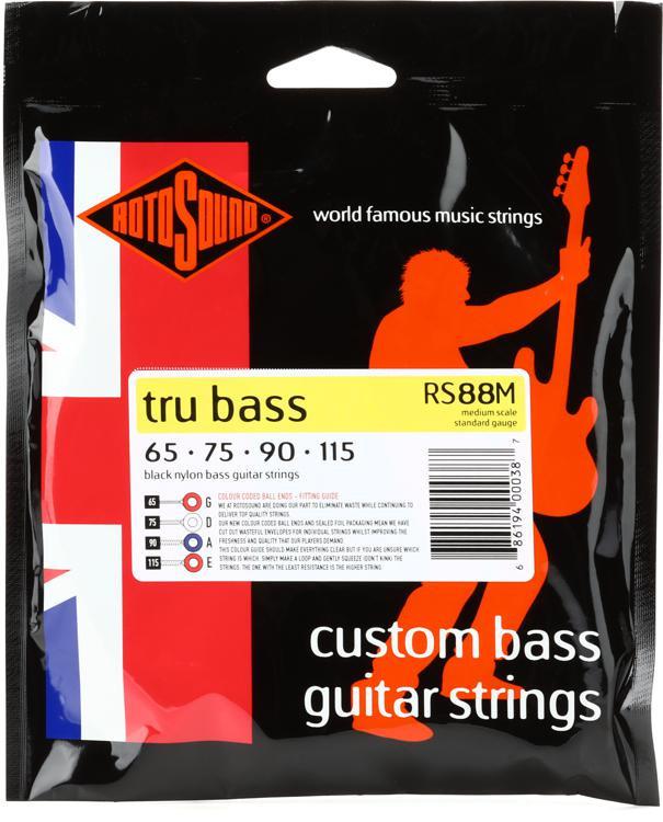 Rotosound RS88M Tru Bass 88 Black Nylon Tapewound Medium Scale Bass Strings image 1