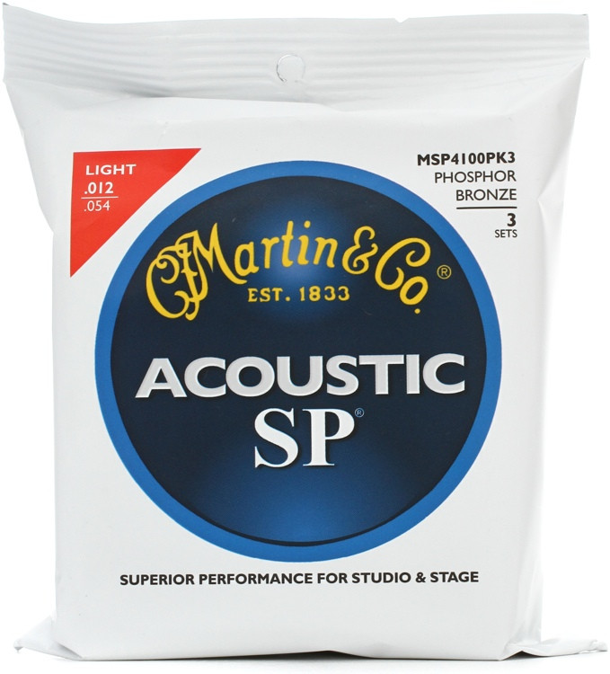 Martin MSP-4100 SP 92/8 Phosphor Bronze Light Acoustic Strings 3-Pack image 1