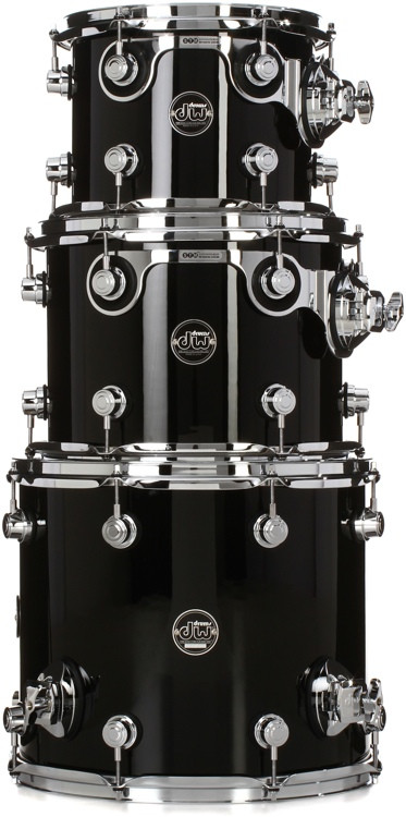 DW Performance Series 3-pc Tom Pack - Gloss Black Finish Ply image 1