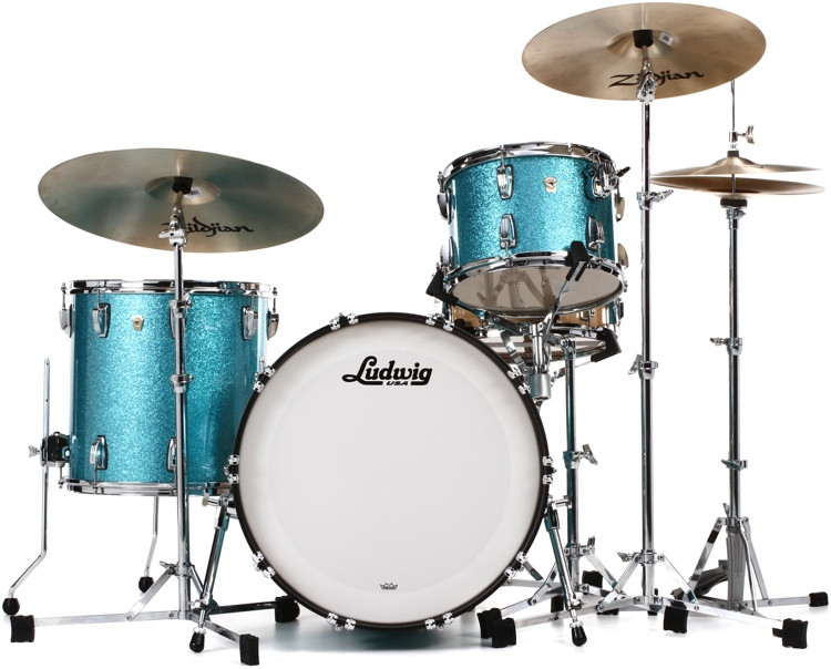 Ludwig Classic Maple Fab 22 Shell Pack - Teal Sparkle image 1