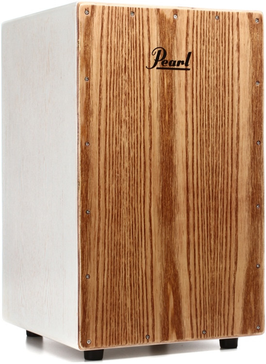 Pearl Ash Cajon with Bag - White Lacquer w/Brown Faceplate image 1
