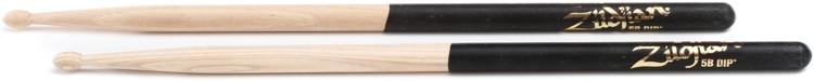 Zildjian Hickory Dip Series Drumsticks - 5B, Wood Tip, Black Dip image 1