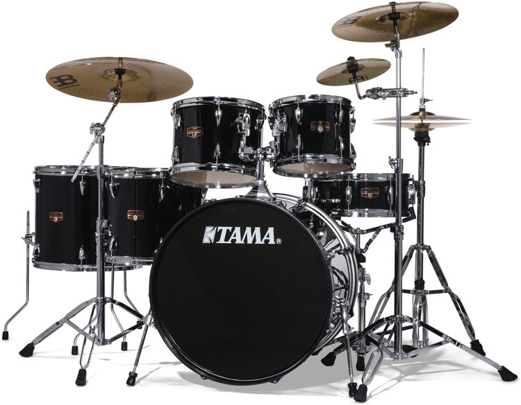 tama imperialstar complete drum set with bonus pack 6 piece black sweetwater. Black Bedroom Furniture Sets. Home Design Ideas