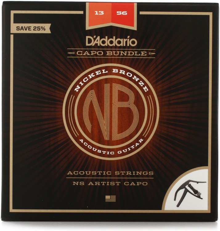 d 39 addario nb1356 nickel bronze acoustic strings medium set with artist capo bundle sweetwater. Black Bedroom Furniture Sets. Home Design Ideas
