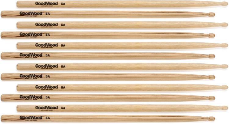Goodwood US Hickory Drumsticks - 6 Pair - 5A Wood Tip image 1