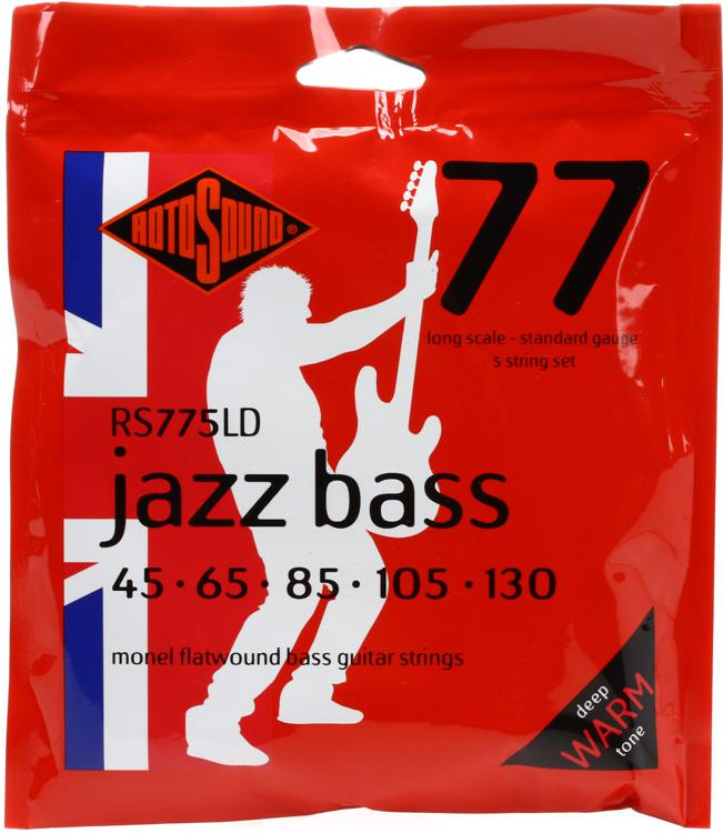 Rotosound RS775LD Jazz 77 Monel Flatwound Long Scale 5-String Bass Strings image 1