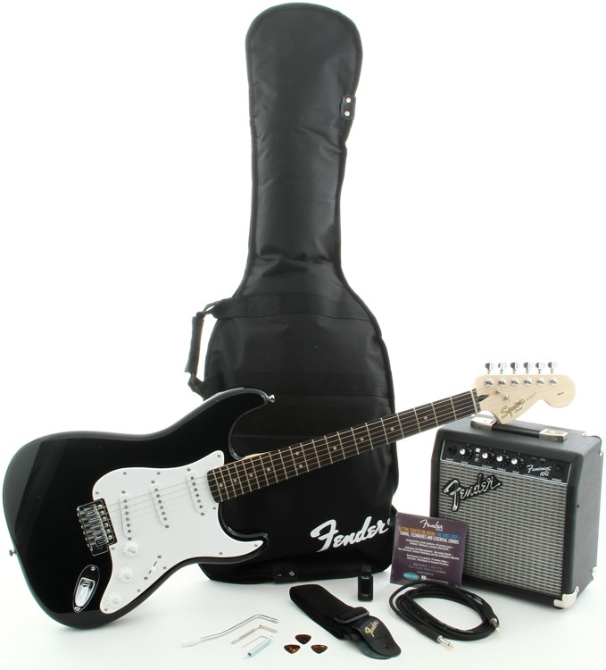 squier affinity strat pak sss with frontman 10g amp black sweetwater. Black Bedroom Furniture Sets. Home Design Ideas