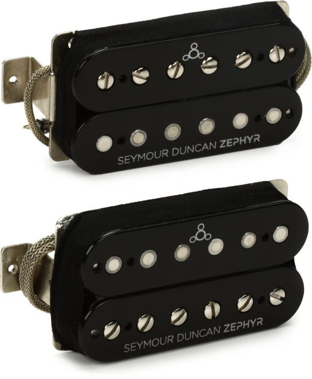 Seymour Duncan Zephyr Silver Humbucker Pickup Set - Black/Silver image 1